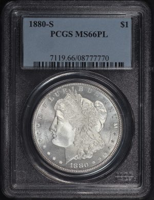 Obverse of this 1880-S Morgan Dollar PCGS MS-66 PL