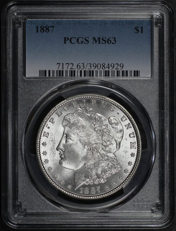 Obverse of this 1887 Morgan Dollar PCGS MS-63
