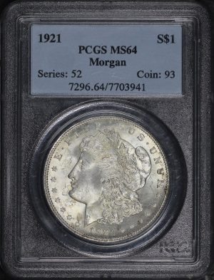 Obverse of this 1921 Morgan Dollar PCGS MS-64