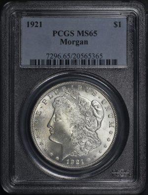 Obverse of this 1921 Morgan Dollar PCGS MS-65