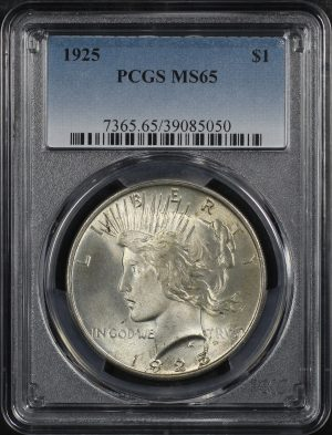 Obverse of this 1925 Peace Dollar PCGS MS-65