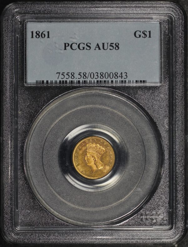 Obverse of this 1861 Gold Dollar Type 3 PCGS AU-58