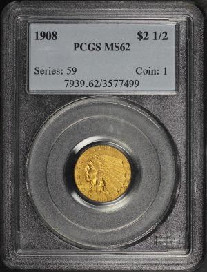 Obverse of this 1908 Indian $2.5 PCGS MS-62