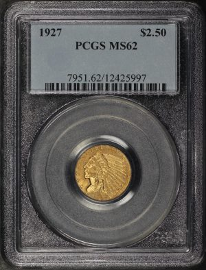 Obverse of this 1927 Indian $2.5 PCGS MS-62