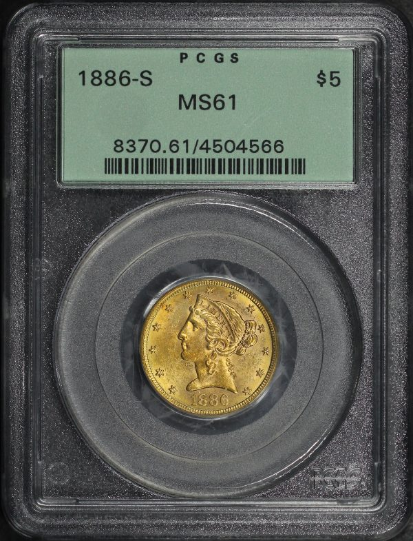 Obverse of this 1886-S Liberty Head $5 PCGS MS-61