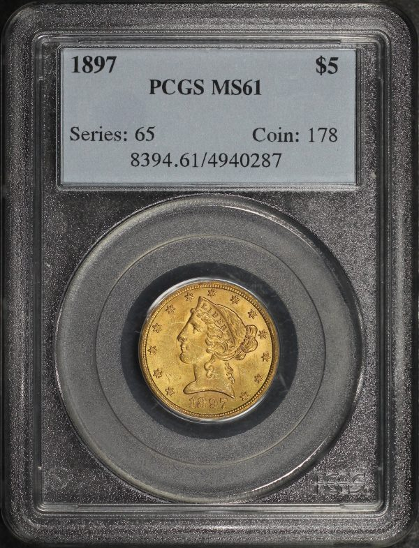 Obverse of this 1897 Liberty Head $5 PCGS MS-61
