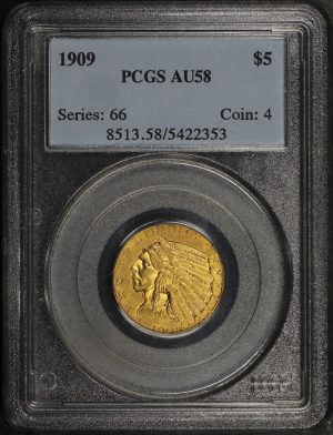 Obverse of this 1909 Indian $5 PCGS AU-58