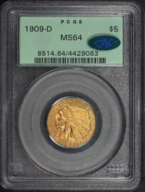 Obverse of this 1909-D Indian $5 PCGS MS-64