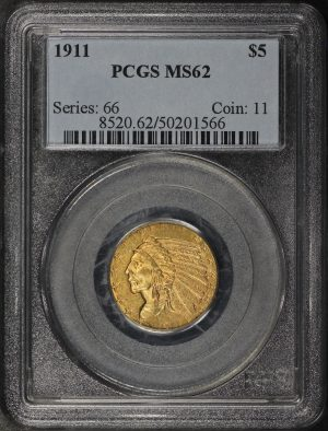 Obverse of this 1911 Indian $5 PCGS MS-62
