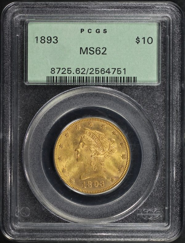 Obverse of this 1893 Liberty Head $10 PCGS MS-62