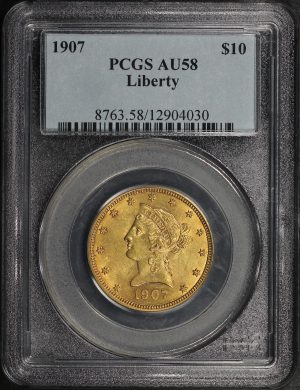 Obverse of this 1907 Liberty Head $10 PCGS AU-58