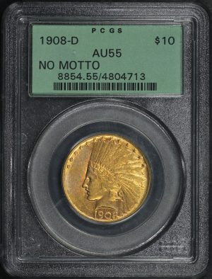 Obverse of this 1908-D Indian $10 No Motto PCGS AU-55