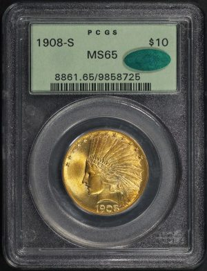Obverse of this 1908-S $10.00 Indian Gold PCGS MS-65 CAC – 177981