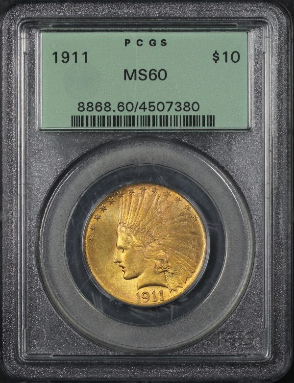Obverse of this 1911 Indian $10 Motto PCGS MS-60