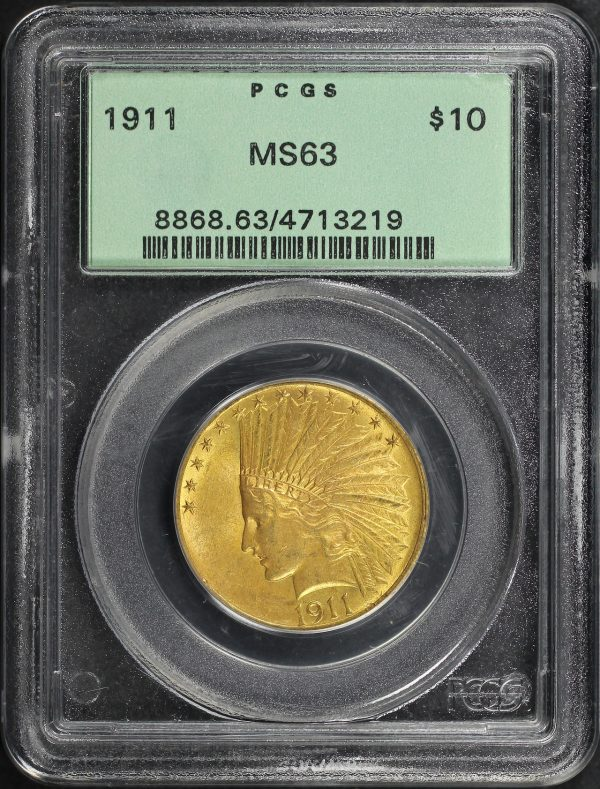 Obverse of this 1911 Indian $10 Motto PCGS MS-63