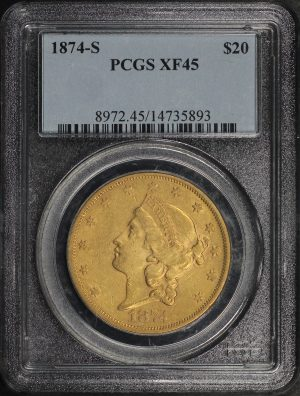 Obverse of this 1874-S Liberty Head $20 Type 2 PCGS XF-45