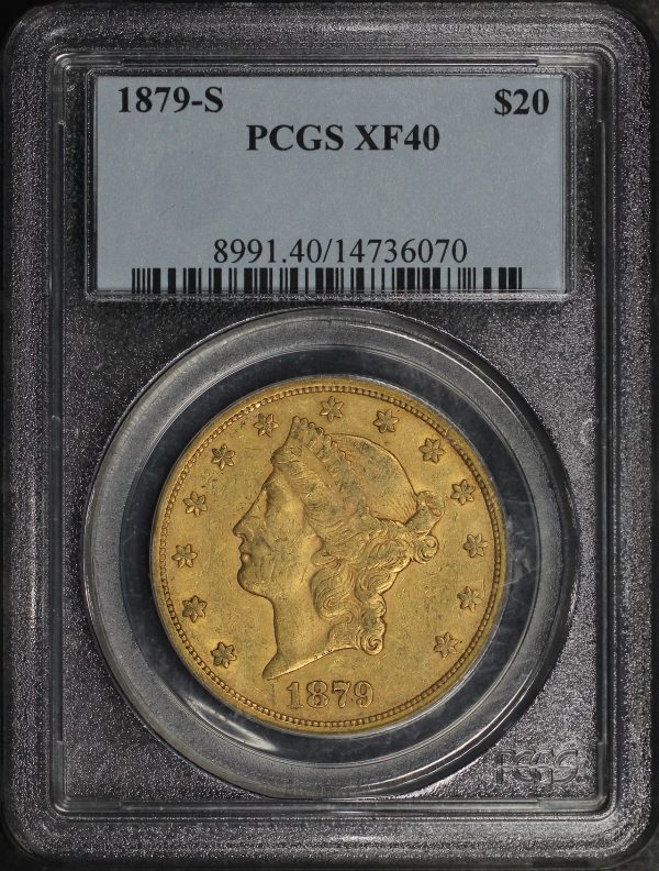 Obverse of this 1879-S Liberty Head $20 Type 3 PCGS XF-40
