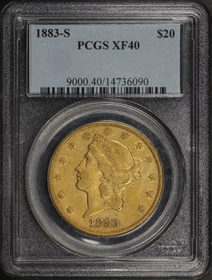 Obverse of this 1883-S Liberty Head $20 Type 3 PCGS XF-40