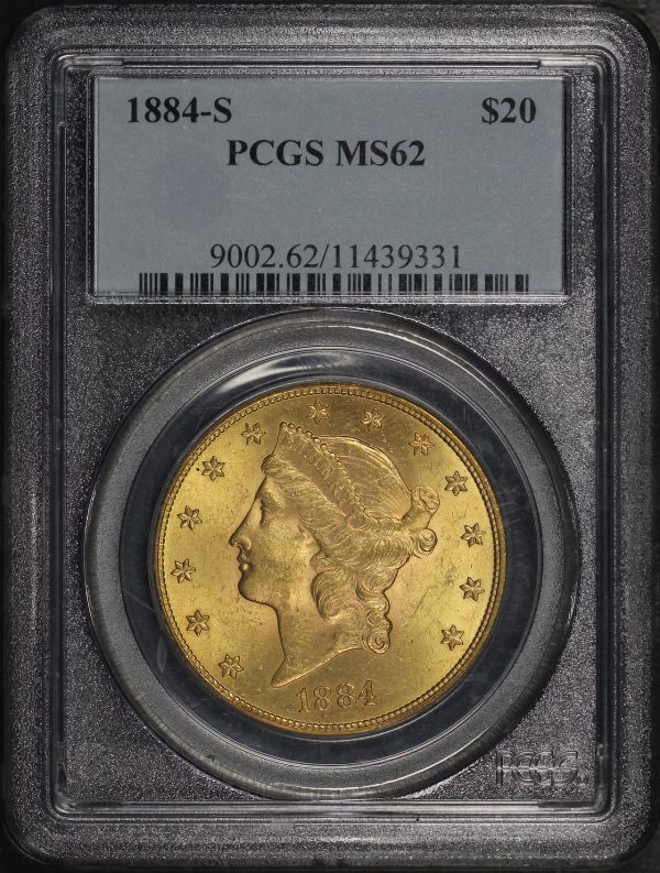 Obverse of this 1884-S Liberty Head $20 Type 3 PCGS MS-62