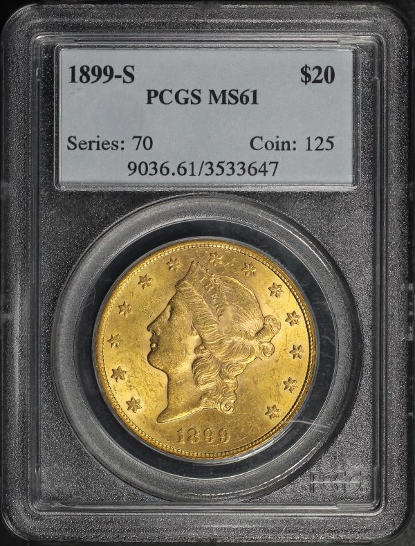 Obverse of this 1899-S Liberty Head $20 Type 3 PCGS MS-61