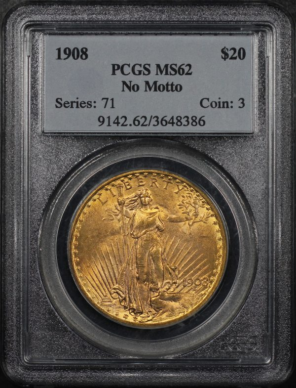 Obverse of this 1908 St. Gaudens $20 No Motto PCGS MS-62