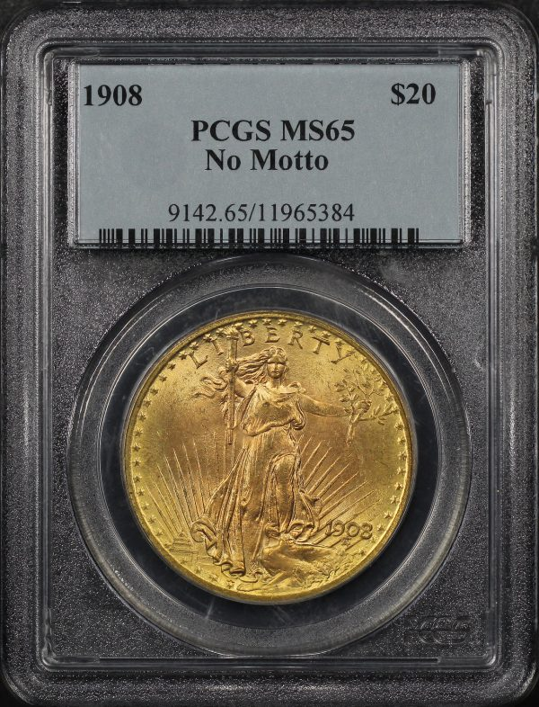 Obverse of this 1908 St. Gaudens $20 No Motto PCGS MS-65