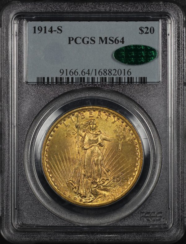 Obverse of this 1914-S St. Gaudens $20 PCGS MS-64 CAC