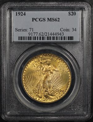 Obverse of this 1924 St. Gaudens $20 PCGS MS-62
