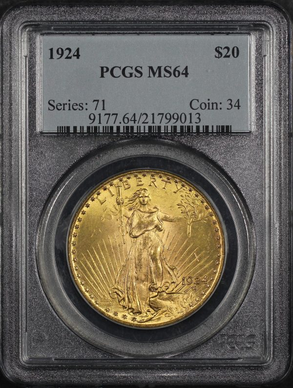 Obverse of this 1924 St. Gaudens $20 PCGS MS-64