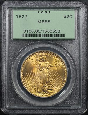 Obverse of this 1927 St. Gaudens $20 PCGS MS-65