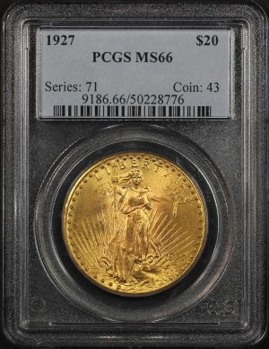 Obverse of this 1927 St. Gaudens $20 PCGS MS-66