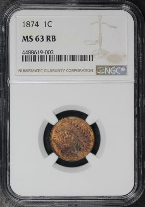 Obverse of this 1874 Indian Cent NGC MS-63 RB