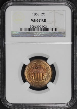 Obverse of this 1865 Two Cent NGC MS-67 RD
