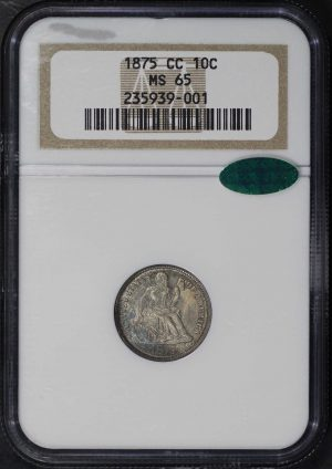 Obverse of this 1875-CC Liberty Seated Dime NGC MS-65