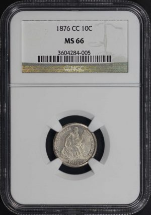 Obverse of this 1876-CC Liberty Seated Dime NGC MS-66
