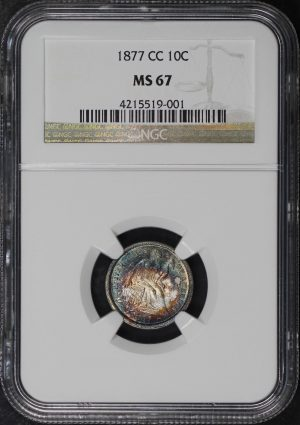 Obverse of this 1877-CC Liberty Seated Dime NGC MS-67