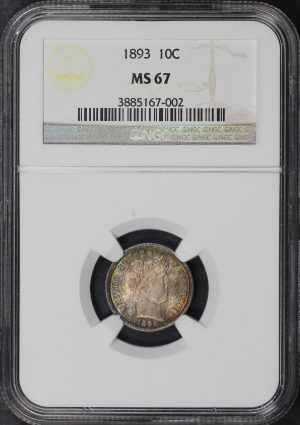 Obverse of this 1893 Barber Dime NGC MS-67
