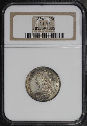 Obverse of this 1834 Capped Bust Quarter NGC AU-53