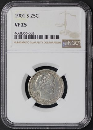 Obverse of this 1901-S Barber Quarter NGC VF-25