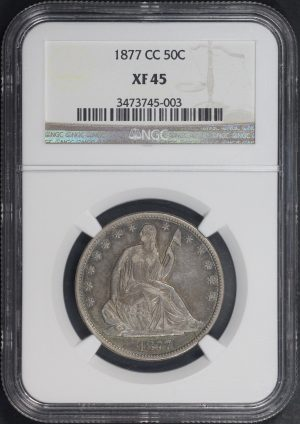 Obverse of this 1877-CC Liberty Seated Half Dollar NGC XF-45
