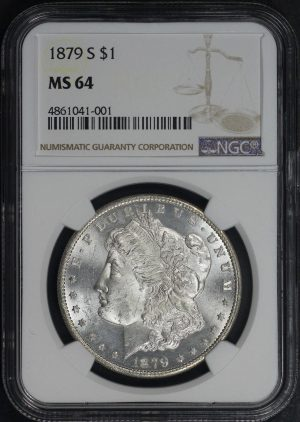Obverse of this 1879-S Morgan Dollar NGC MS-64