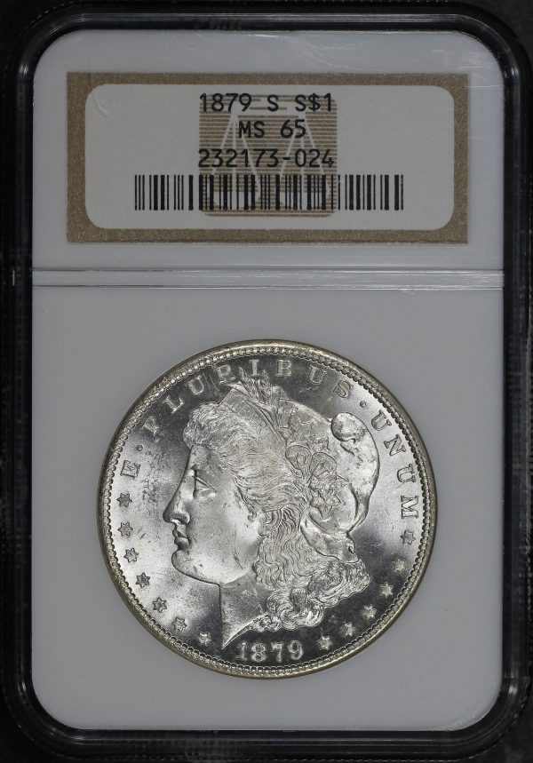 Obverse of this 1879-S Morgan Dollar NGC MS-65