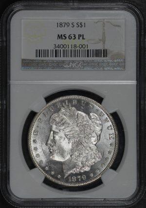 Obverse of this 1879-S Morgan Dollar NGC MS-63 PL