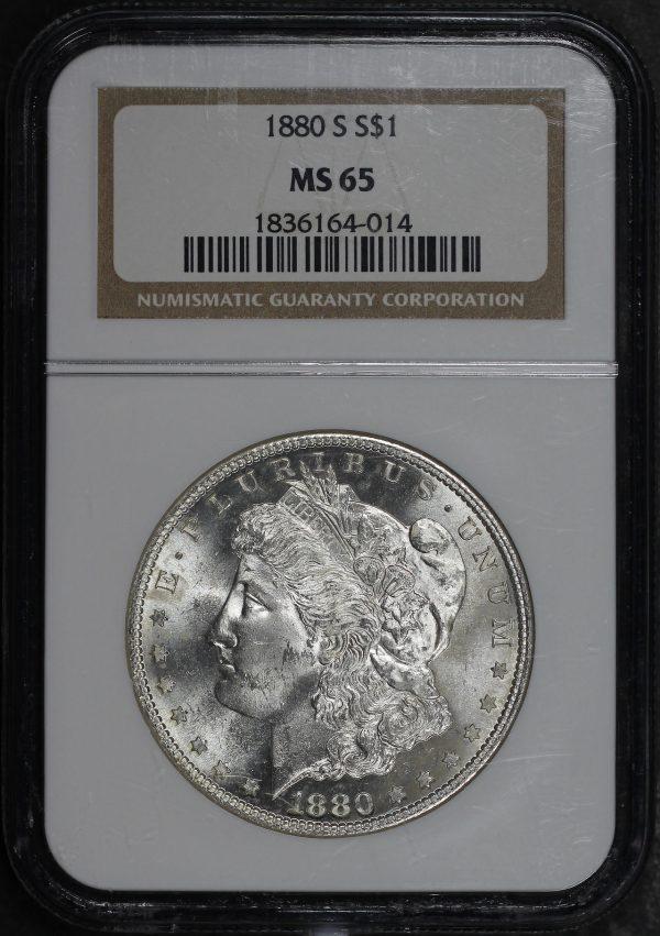 Obverse of this 1880-S Morgan Dollar NGC MS-65