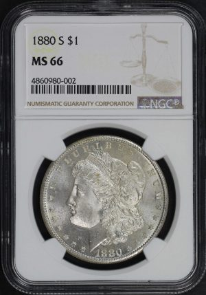 Obverse of this 1880-S Morgan Dollar NGC MS-66