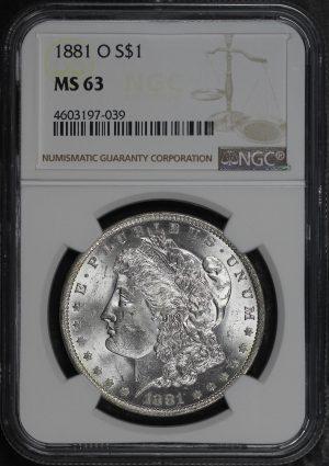Obverse of this 1881-O Morgan Dollar NGC MS-63