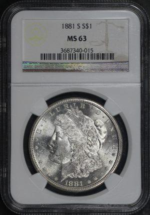 Obverse of this 1881-S Morgan Dollar NGC MS-63