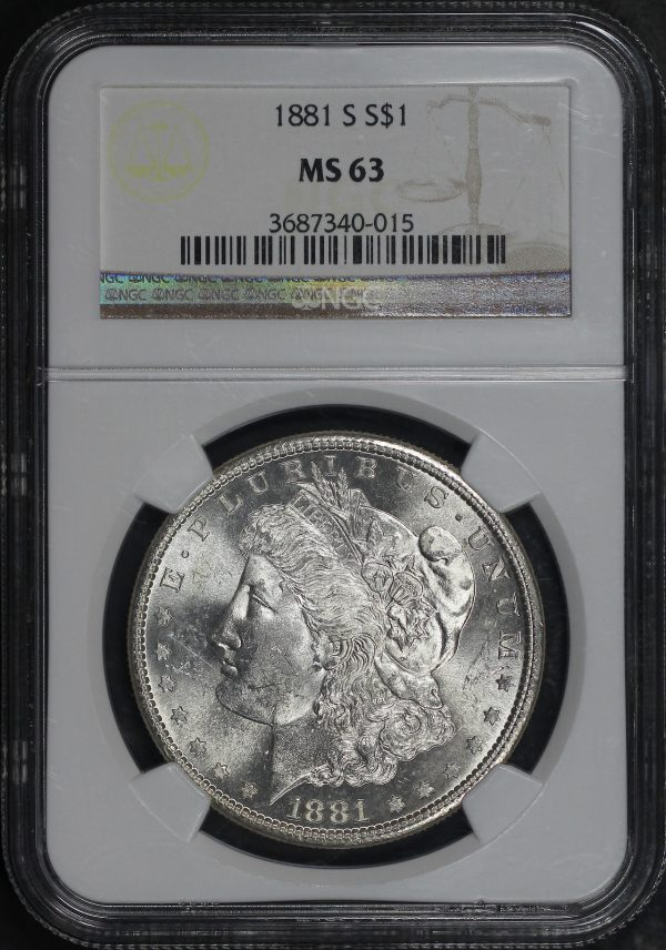 Obverse of this 1881-S Morgan Dollar NGC MS-63