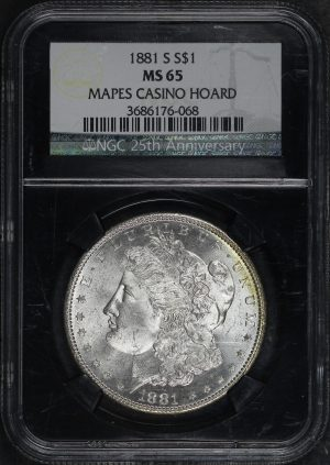 Obverse of this 1881-S Morgan Dollar NGC MS-65 Mapes Casino Hoard