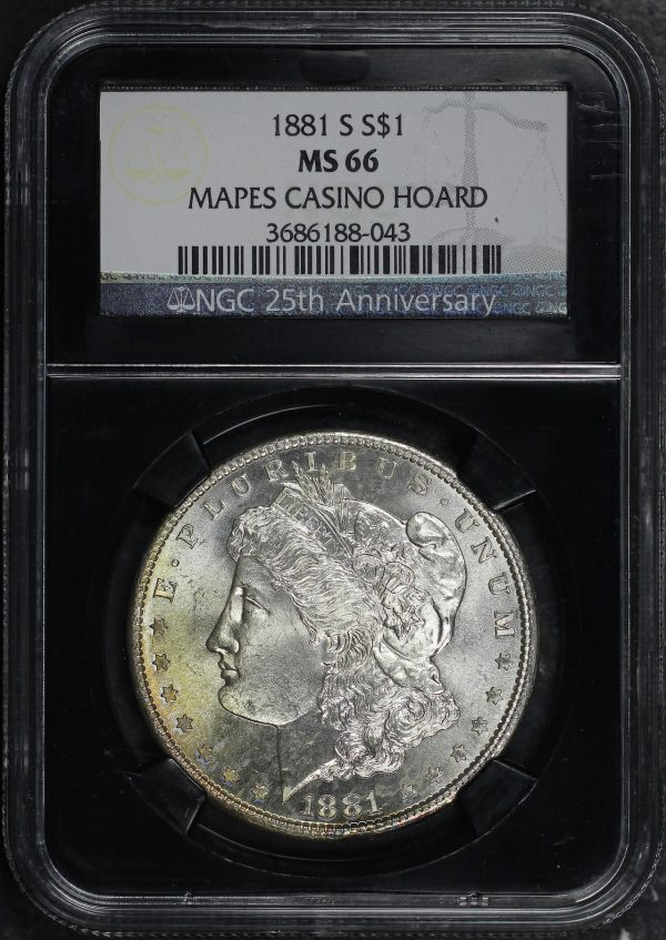 Obverse of this 1881-S Morgan Dollar NGC MS-66 Mapes Casino Hoard